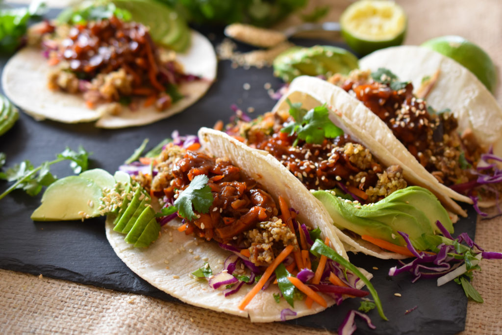 "Vegan Pulled ""Pork"" Tacos made with carrots"