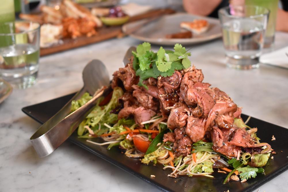 Peninsula Hot Springs beef salad on their menu