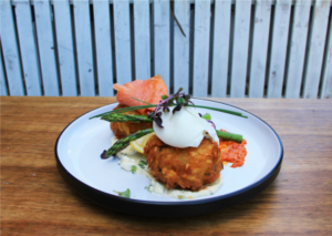 Rosti with smoked salmon, asparagus and a poached egg at Rock Paper Scissors