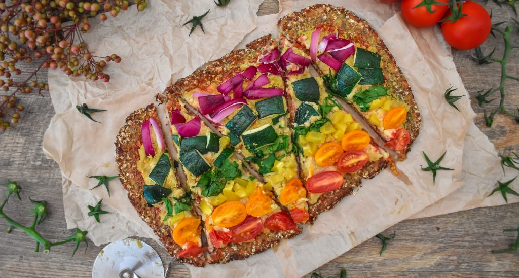 Rainbow Vegan Cauliflower Quinoa Pizza Crust recipe