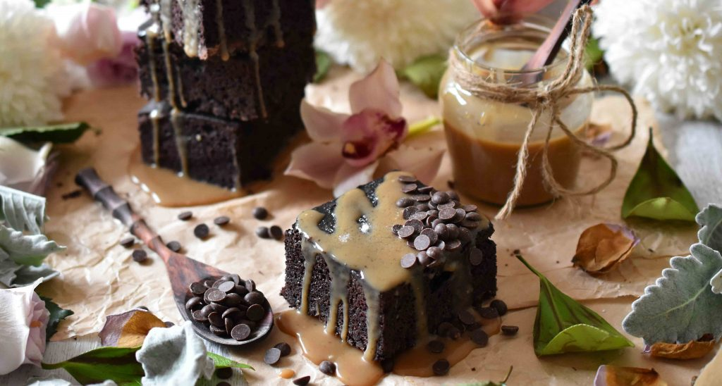 Healthy Salted Caramel Brownie, refined sugar-free and gluten-free recipe