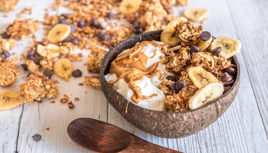Chunky Monkey Granola (Chocolate-Peanut Butter-Banana) Recipe